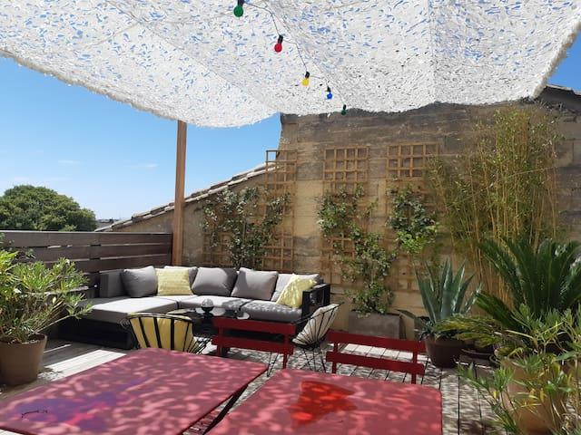 Appartement centre ville : terrasse et vue