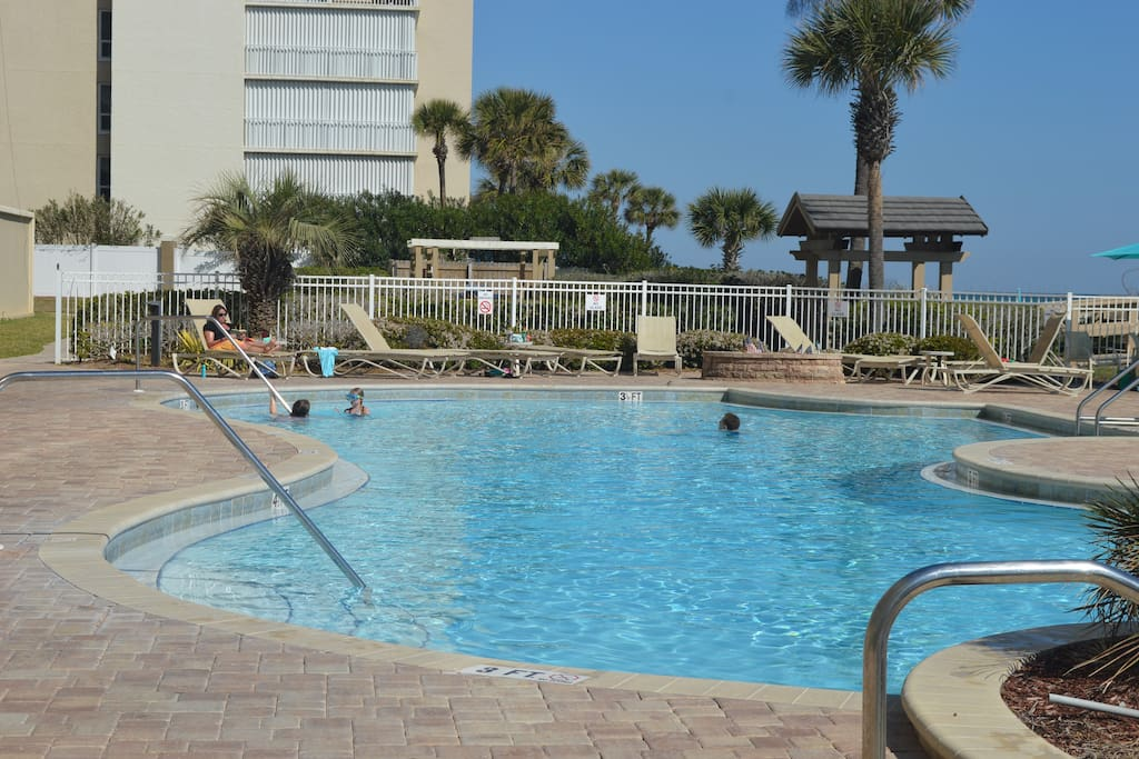 The pool is beach front.