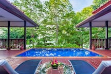 At the centre of the villa both bedrooms open onto a central courtyard featuring a lovely swimming pool and sun deck.