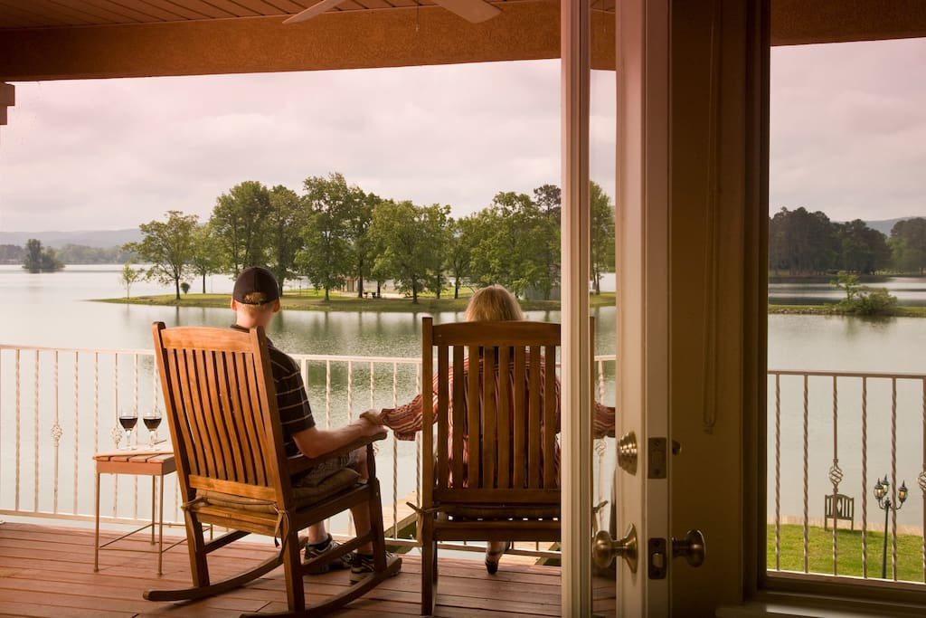 Relax and enjoy the phenomenal view from your private porch at Lakeview Terrace.