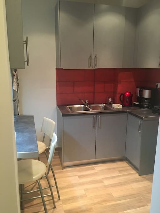 Brand new kitchen with large fridge. No cooker but hob set for cooking.