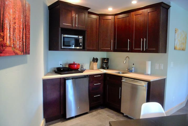 Kitchen with 2 ring stove, convection oven and microwave, fridge/freezer and dishwasher