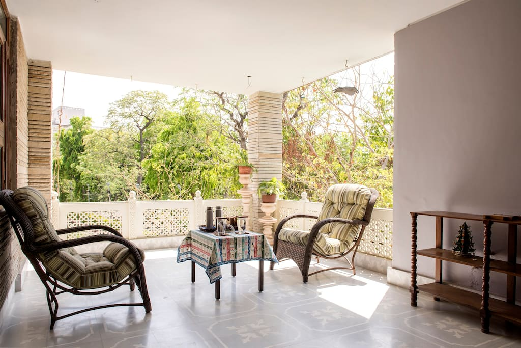 Attached Balcony to Sit out Relax And enjoy the sound of chirping Birds .
