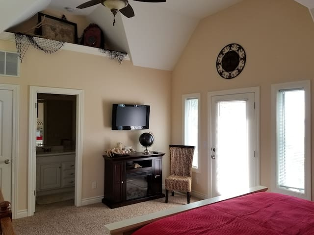 TV and Fireplace in Bedrooom