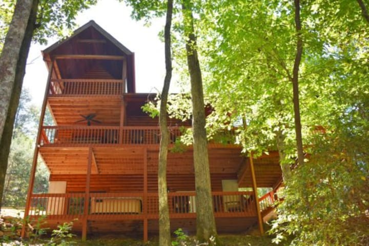 Dog-friendly, creekside, Blue Ridge home w/ a private hot tub, Ping-Pong, & more