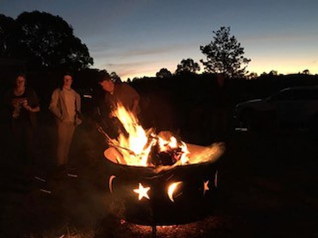 Large outdoor firepit for use in the colder months (cannot be used during fire bans)