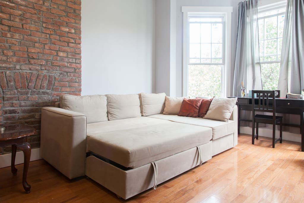 Couch pulls out into a FULL size bed available after 5 or more guests.