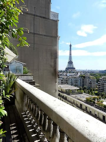 Terrace: There is a 11 square meters terrace contiguous to the living room and bedroom 1. It has a beautiful view on the Eiffel Tower.