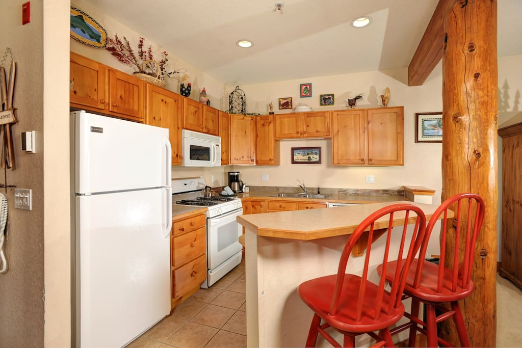 The fully-equipped kitchen features everything you need to cook while on vacation.