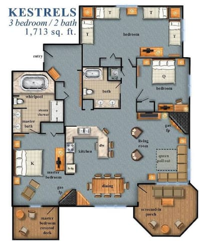 3-BR at Smugglers Notch. Actual floor plan may vary slightly.