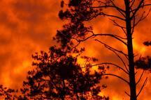 Colores del atardecer, vista desde la cabaña