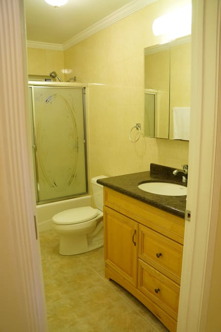 Clean bathroom with amenities