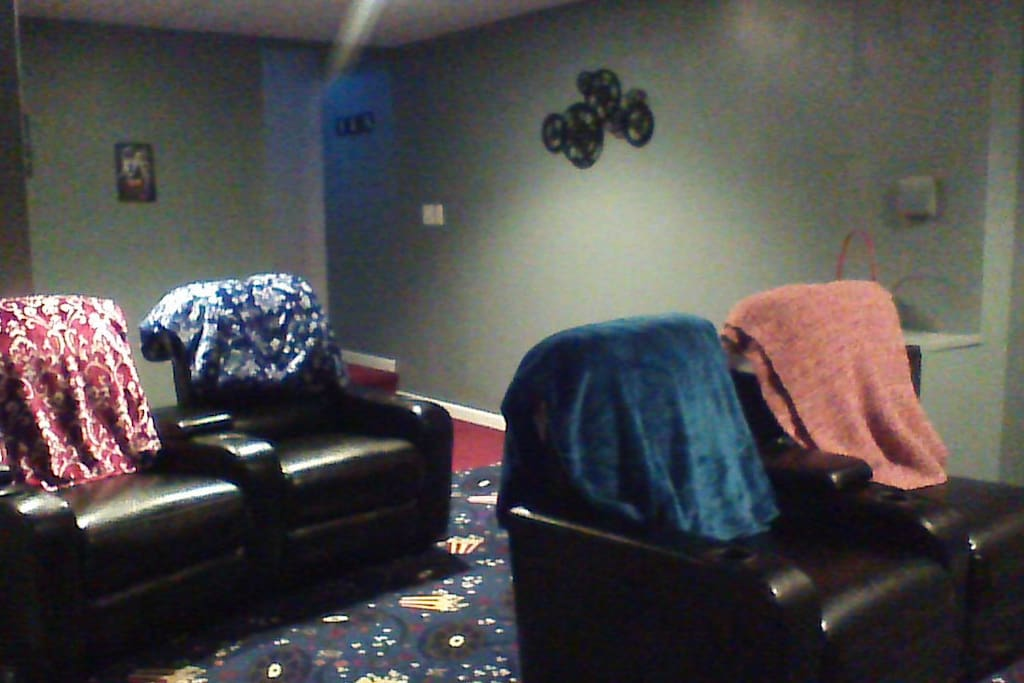 Home theater in finished basement
