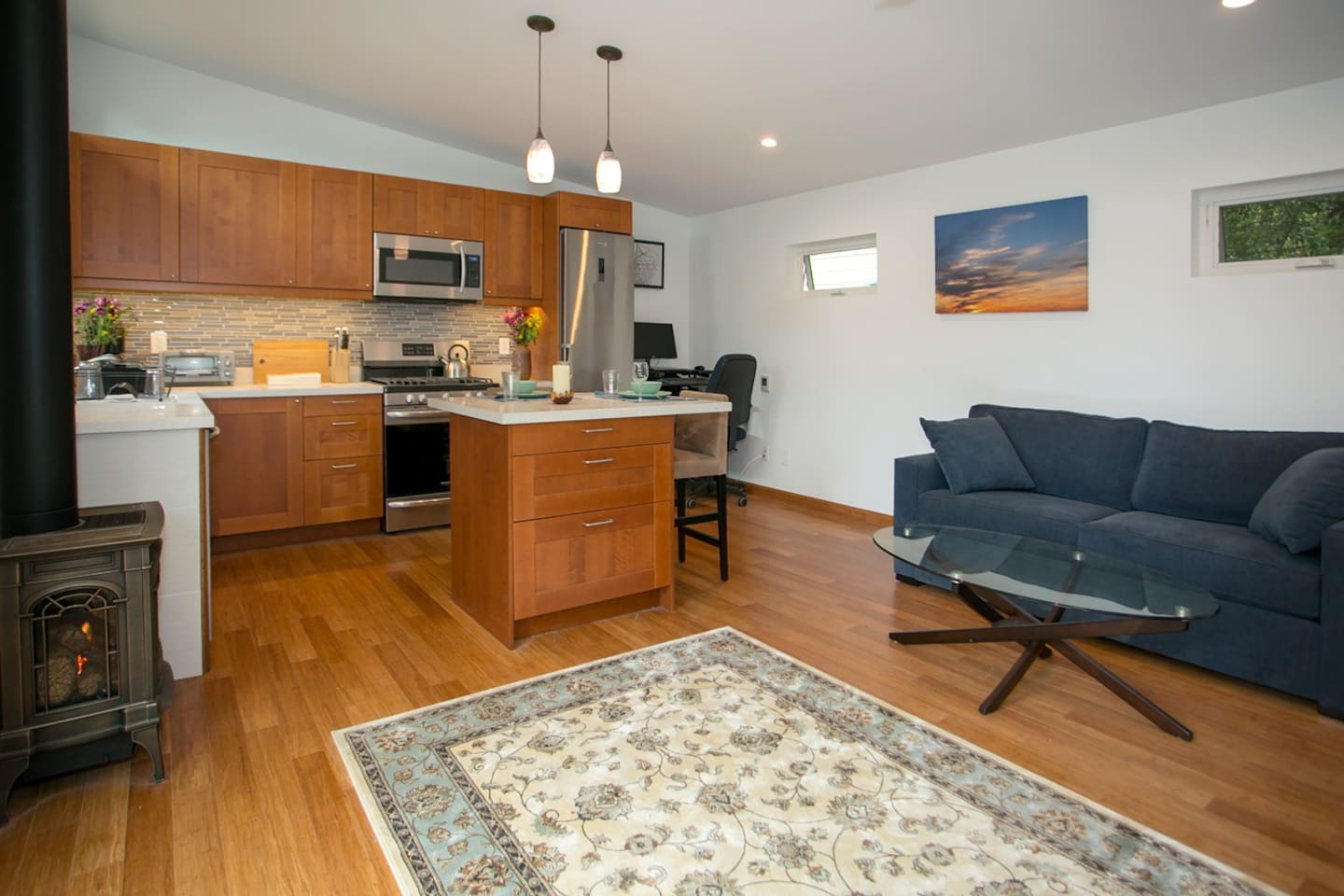 Newly built 500 square foot cottage with open floor plan.  Lots of daylight, fireplace, and home office setup.