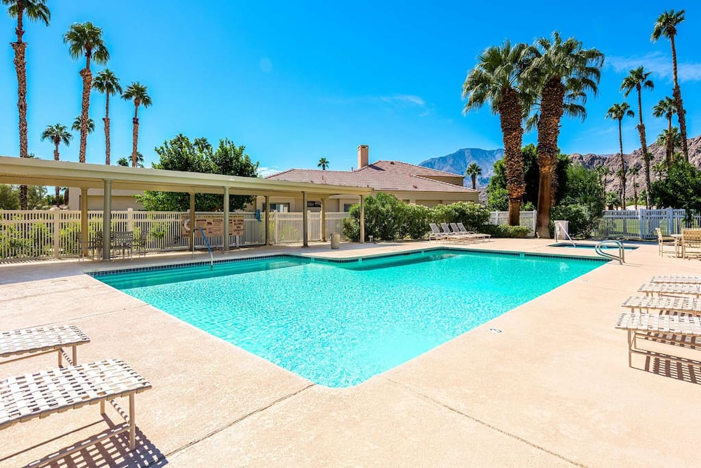 Large heated community pool close by