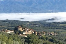 A nice walk starting from the villa and up in the mountains gave us this amazing view of Montegonzi, Fontebussi, the Arno valley and Pratomagno mountain. I love this area of Tuscany