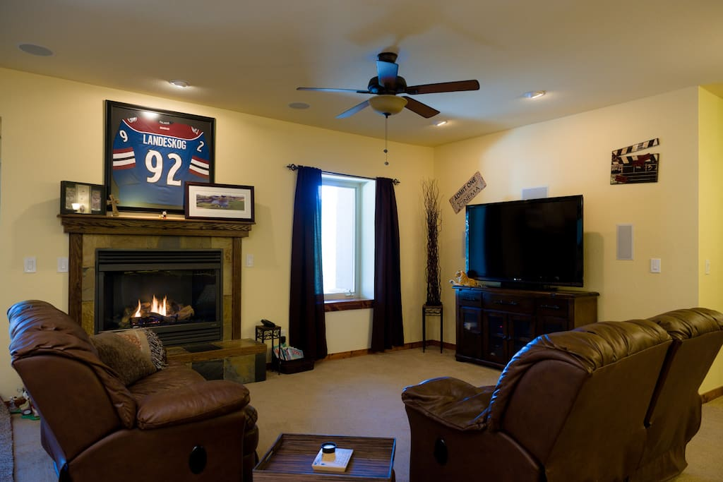 Enjoy the 7.1 surround sound theater w/fireplace keeping you cozy.