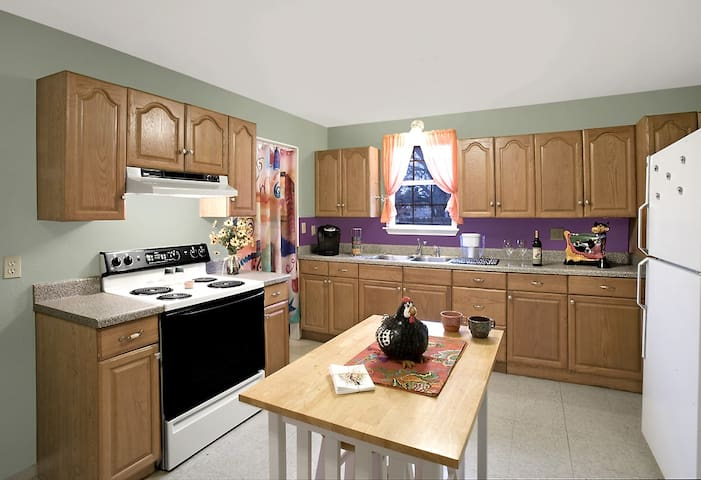 Spacious, bright kitchen is great for sharing a meal