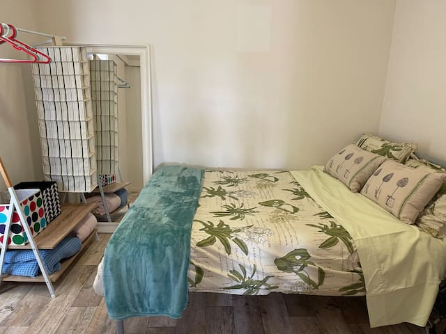 This is the main bedroom with a double bed size.