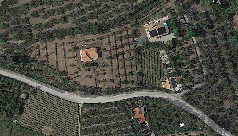 "The whole farm here, frangescas house is the one on the left. You can book both houses if you want.. The one on the right is called on airbnb ""ktima kavourou, dionisis' house"". Better prices can be discussed if you book both of them."