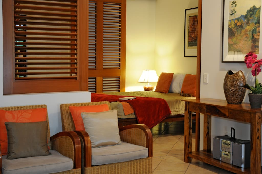 Private bedroom behind sliding cedar doors