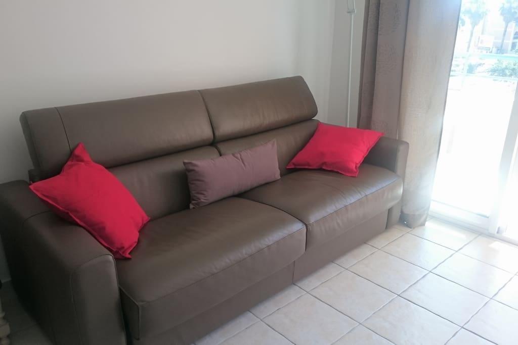 Canapé en cuir convertible très confortable