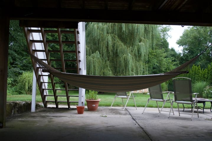 Outdoor Patio with Hammock/Fire Pit