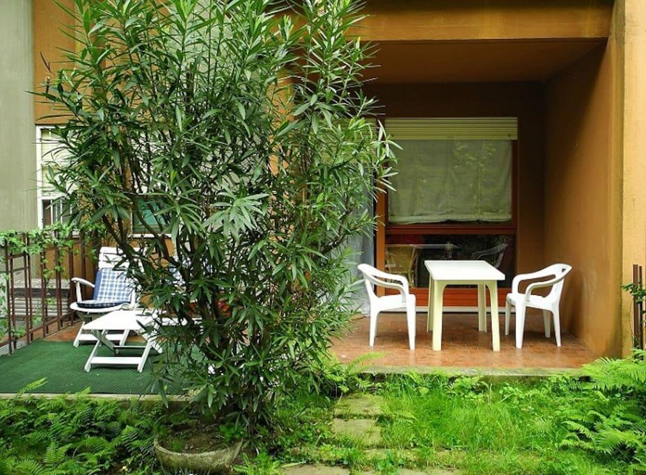 Veranda con Oleandro, Felci e Fragole selvatiche