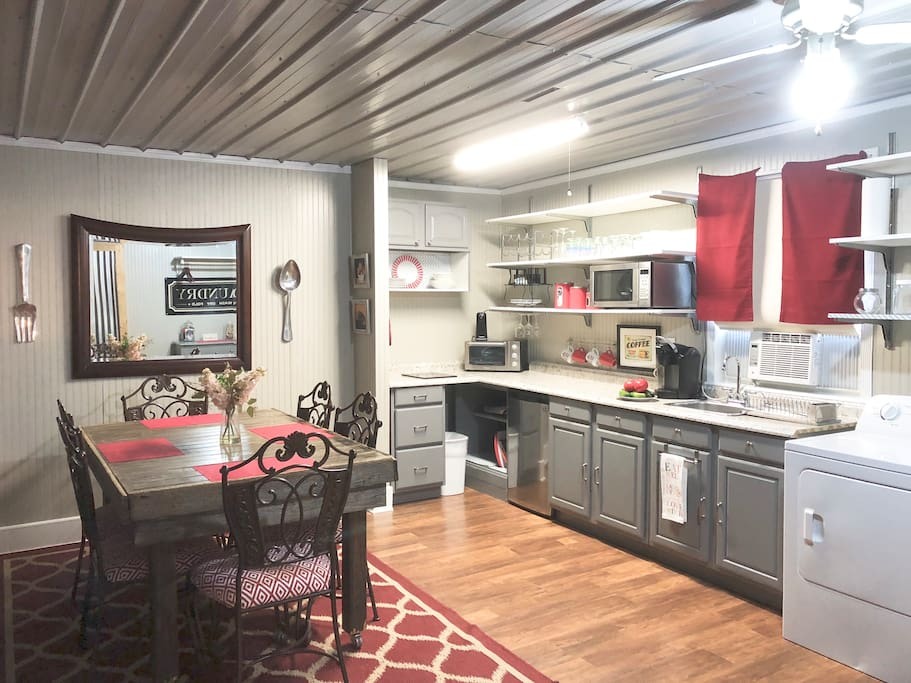 Kitchenette with Barn wood Dining Table, Washer & Dryer