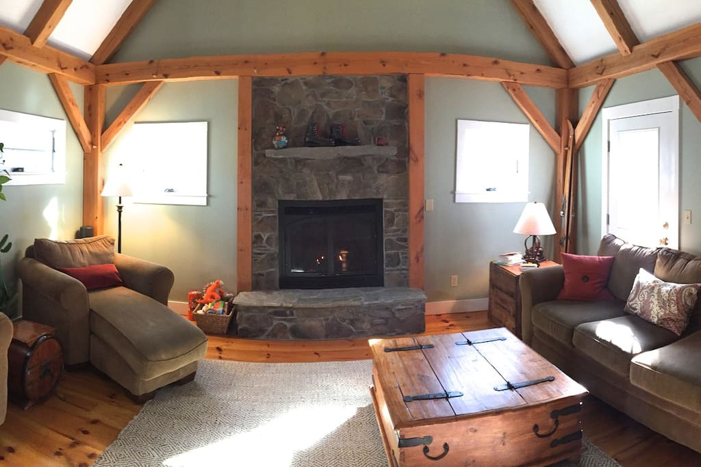Relax in our cozy living room and kick your feet up