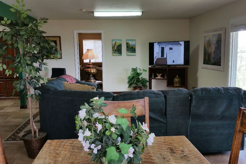 Living room with flat screen TV that has 100s of channels, including music channels.