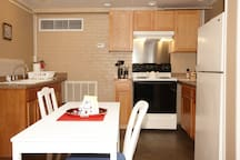 Owner meticulously renovated the apt. Full sink, stove, fridge. Handsome details, created with care.