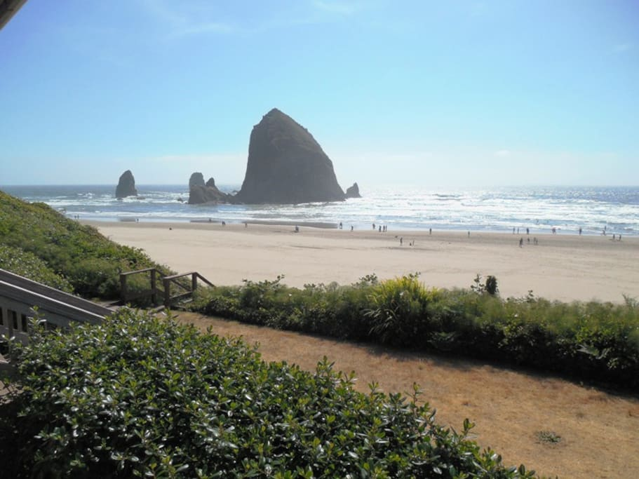 covered porch with view of Haystack Rock at Haystack Close North