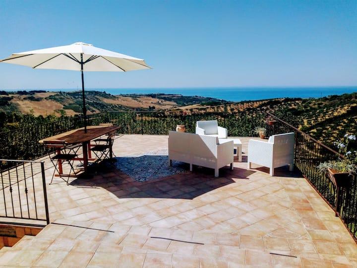 villa in sicilian countryside, sea view