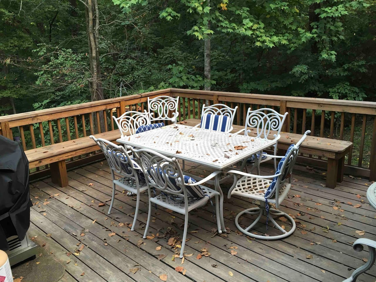 Nice rear deck overlooking private wooded lot