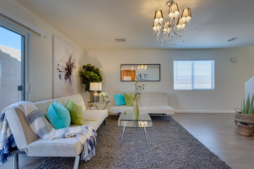 Living room with 2 sofa bed