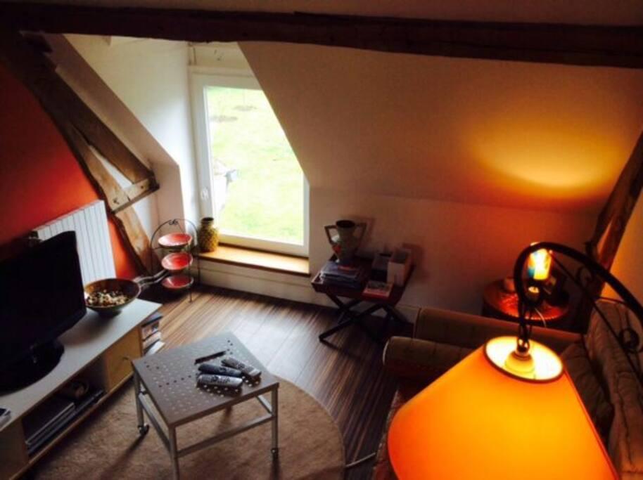 chambre 2 d'appoint mansardée avec vue sur forêt