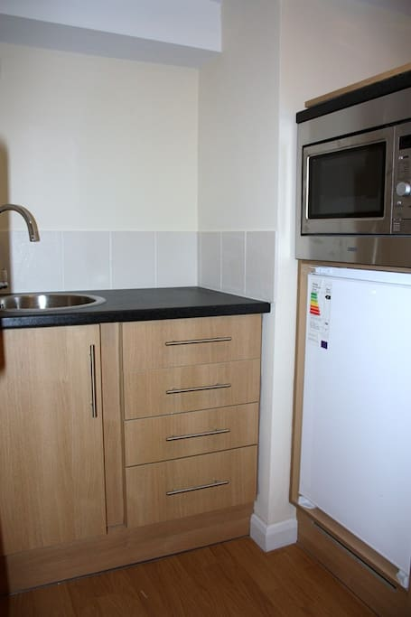 Microwave oven, sink and fridge