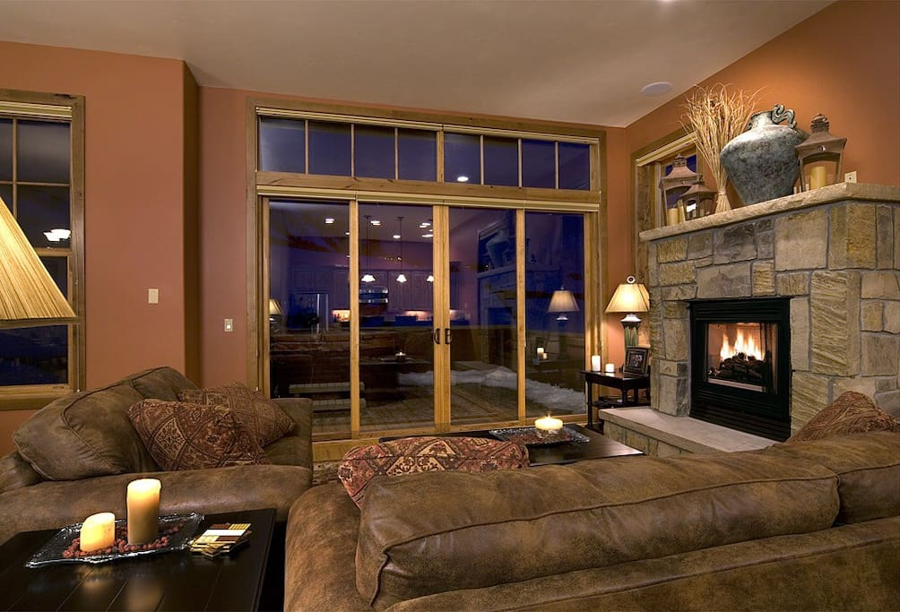 Living room with glass doors that open to the deck. (Main floor)
