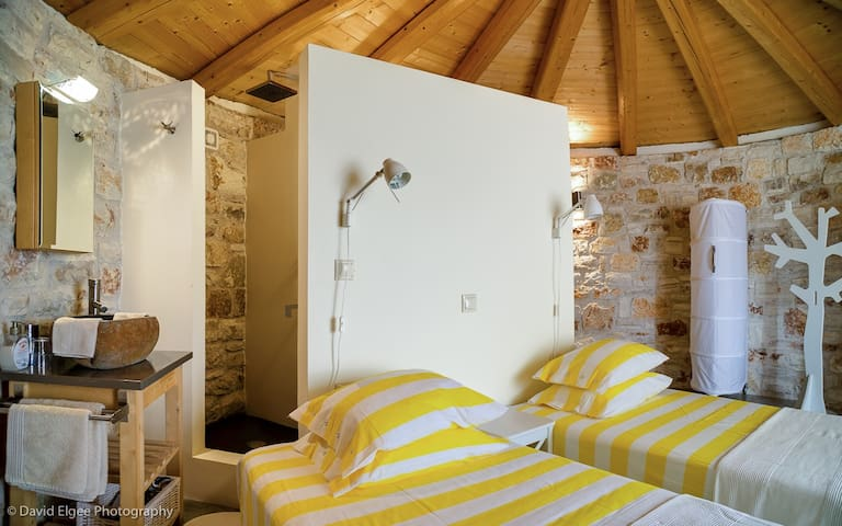 The second bedroom,with the most beautiful view,the beds if you prefer can be made up into a double bed.