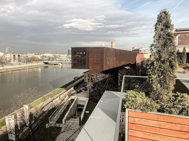 Apartment with a terrace and a view on the river
