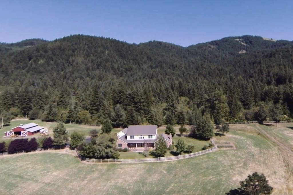 The house & barn from above, with the property's forest behind.