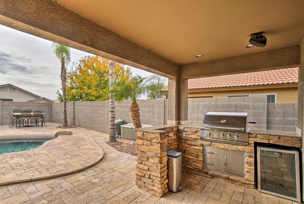 Play some music on the outdoor speakers and whip up a barbecue dinner.