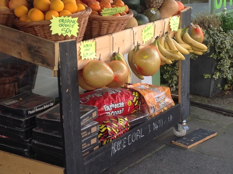 Organic fruit and veg in the shop below