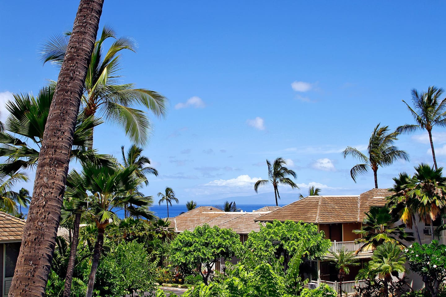 View from the balcony. Island of Lanai in the distance.