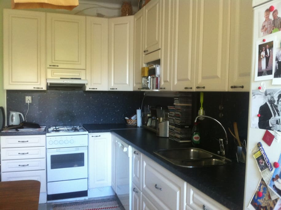 Kitchen: gas stove and oven, water kettle, cd player with phone plug, coffee maker and grinder, fridge, freezer, dishwasher