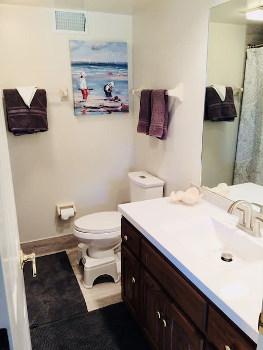 Newly renovated private bathroom stocked with fluffy towels