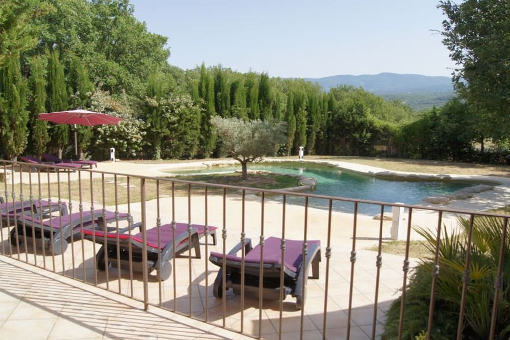 View from living room terrace to sun terrace, pool and views across Luberon
