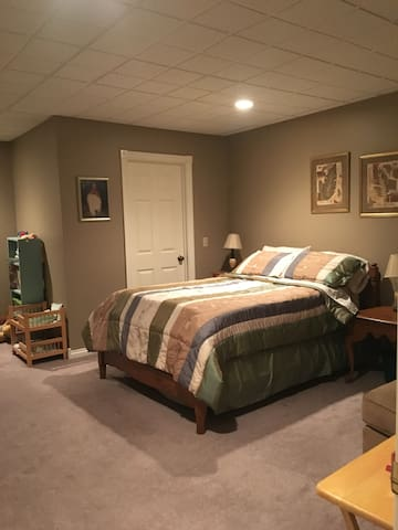 Bedroom with full bed, walk in closet, sofa and desk area.