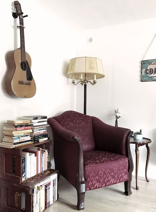 Sit down and relax for a minute or two. Maybe read a book or play the guitar.
